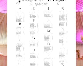 "Wedding Seating Chart ""Floral 7"" Spring, Summer or Garden Wedding Reception Seating Poster Rush Digital File Alphabetical Order Portrait"