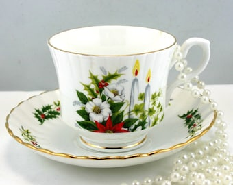 Vintage, Royal Stafford Teacup & Saucer, Fine Bone English China made in 1960s.