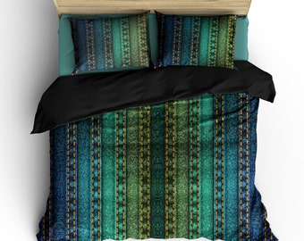 Rainbow Jeans Style Designer Bedding -Available in Twin, Full/Queen and King Size