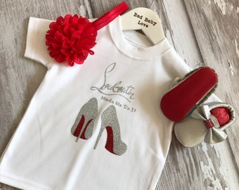 Sparkly Red Sole Baby Tshirt & Matching Moccasin Pram Shoes - Diamanties, bling bows -Like Mummy's Louboutins but Designer Inspired!