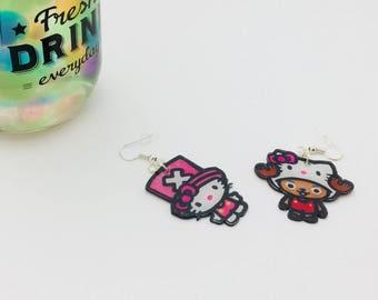 Earrings on shrink plastic earrings, earrings hello kitty / Chopper, one piece, shrink plastic earrings, Hello Kitty earrings
