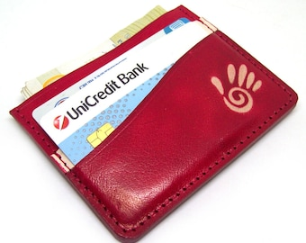 Red Leather Minimalistic Wallet Small Leather Wallet Handmade Leather Card Holder Minimal Leather Wallet Thin Leather Wallet Men's Handmade