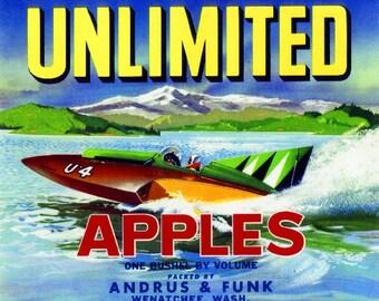 Wenatchee- Unlimited Apple Citrus Fruit Crate Box Label Art Print