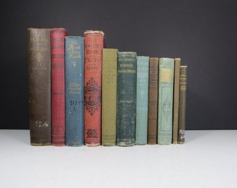 Worn Antique Book Set // Vintage Decorative Book Collection 1800's Early 1900's Rustic Shabby Chic Maroon Blue Black Wedding Decor Books