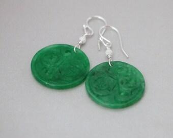 Green Jade Earrings, Carved Green Jade Earrings, Chinese Green Jade Carved Round Sterling Silver Earrings, Jade Earrings, Jade Jewelry