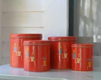 RED KITSCHY Vintage Metal Canister Set Of 4