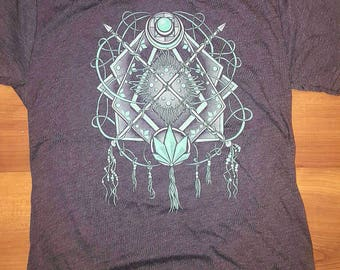 Crystallized Dreams Screenprint Tee (Blackberry) - Original Illustration Dreamcatcher T-shirt