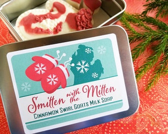 Smitten with the Mitten Soap / Cinnamon Swirl Goats Milk Soap /  Natural Soap / Moisturizing Soap - 3 oz bar with tin