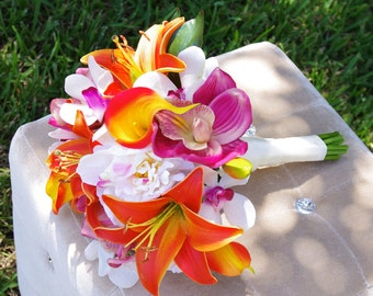 Tropical Wedding Bouquet - Lilies, Callas, Orchids and Peonies Silk Wedding Bouquet  - Orange and Fuchsia Natural Touch Bride Bouquet