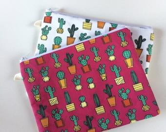 Pink Cactus Zipper Pouch, White Cactus Bag, Succulent Pencil Pouch, Purse Organizer, Makeup Cosmetic Bag, Sticker Pouch, Stationery Holder