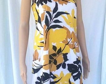 Vintage Black And yellow floral dress made by Sangria FREE SHIPPING