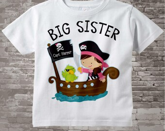 Big Sister Pirate Shirt, Personalized Pirate Shirt or Onesie with Your Child's Name 11122014d