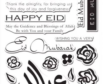 Eid Al Fitr Arabic & English Clear Stamp Set. Card Making Very Hard To Come By!