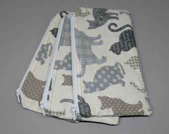 Beige Cat Zipper Pouches