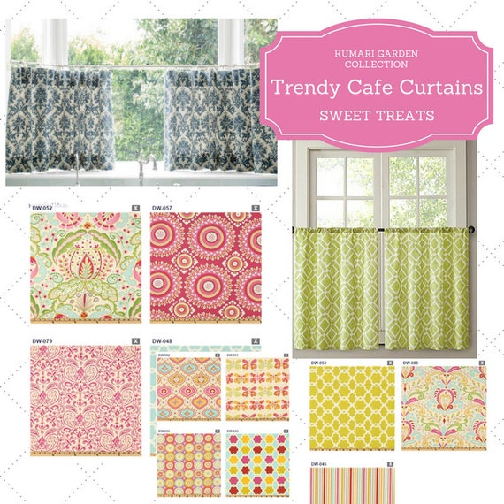 Custom Cafe Curtain PAIR - Kumari Garden / Modern Floral Curtain, Boho, Retro, Tropical Valance,  Kids Room, Nursery, Kitchen Curtain
