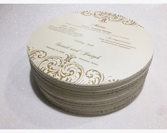 Round Menu • Circle Menu • Any Size ROUND MENU, Charger Menu • Thank you Menus • for weddings, bridal events, and dinner parties