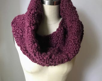 Infinity Scarf, Chunky Knit ~ Circle Cowl ~ Marching Arrows Cowl ~ in Color Purple