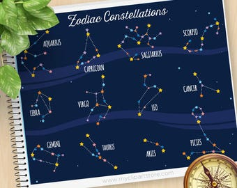 Zodiac Constellation Clipart, Horoscope, Astrology, Astronomy, Galaxy Clip Art, Zodiac, Commercial Use, Vector Clipart, SVG Files