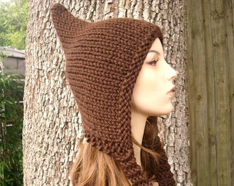 Knit Hat Womens Hat - Pixie Hat in Chocolate Brown Knit Hat - Brown Hat Brown Pixie Hat Brown Ear Flap Hat Womens Accessories Winter Hat