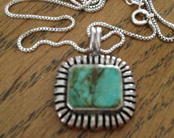 "Sterling Silver and Turquoise Necklace on 16"" Chain"