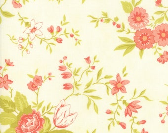 Fig Tree Fabric - Ella and Ollie Fabric Yardage - Moda Quilt Fabric - Milk - Cream Floral Fabric By The 1/2 Yard