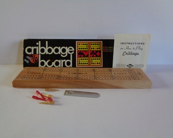 Vintage CRIBBAGE BOARD by E.S. Lowe Company, Inc. 1968 - Solid Hardwood - Nice!