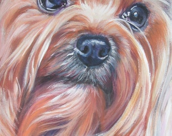 Yorkshire Terrier yorkie dog portrait CANVAS print of LA Shepard painting  8x10 dog art