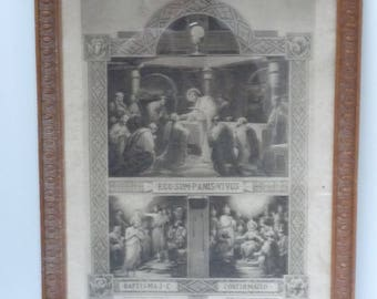 Vintage French Baptism, Communion, Confirmation Certificate