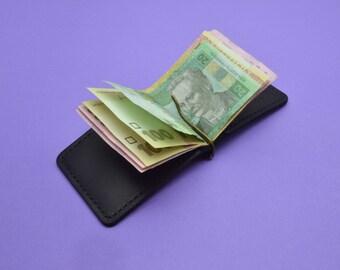 Slim  money clip, leather money clip, leather wallet, Money clip
