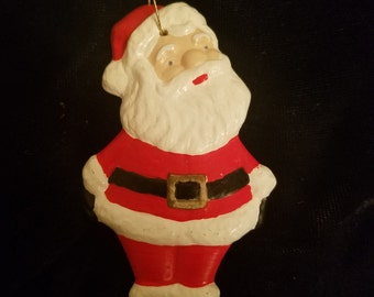 Vintage Santa Claus Christmas Ornament - Hand Painted