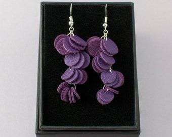 HILPU earrings - Bright violet reindeer leather cluster earrings - Dangle earrings - Handmade earrings
