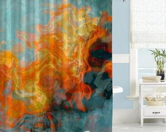 Abstract Shower Curtain, Contemporary Bathroom Decor, Orange, Yellow And  Aqua Waterproof Fabric Shower