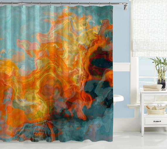 20 Ways To Decorate With Orange And Yellow: Abstract Shower Curtain Contemporary Bathroom Decor Orange