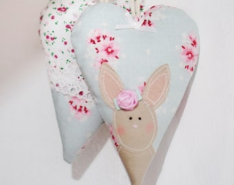 Vintage Bunny Rabbit Heart Decoration - Shabby Chic Easter Decoration, Floral Spring Heart, Spring Decor SET OF 2