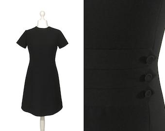 Vintage Kleid wolle schwarz | A-Linie Kleid | Kleine schwarze Kleid mit Knopf Detail