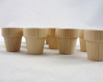 "Wooden flower pot 1 5/16"", 3.33 cm flower pot, set of 12"