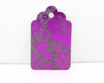 Purple Floral Gift Tags, Party Tags, Wedding Tags,  Gift Tags, Pattern Gift Tag, Wish Tree Tags, Favor Tags, Flower Tags, floral tags
