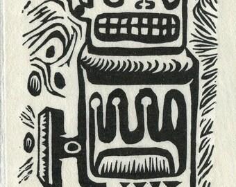 Grill Teeth Prehistoric Robot - Lino Cut Print