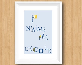 French print-Printable Wall Art-Digital Print-Classroom Decor-Kids Room Decor-Wall Art Print-Light Blue Print-School Poster-Language Art