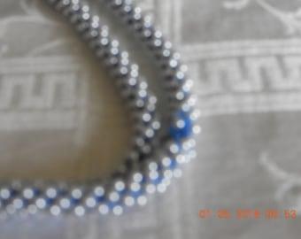 Vintage handmade beaded necklace in medium blue