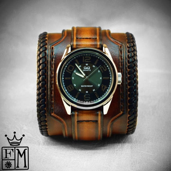 Leather cuff watch Tobacco sunburst wide layered laced edge Brown watch band cuff Bracelet  Handmade for YOU in New York by Freddie Matara
