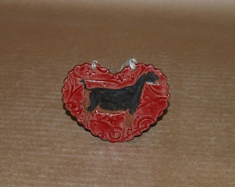 Handmade Stoneware Ornament LaMancha doe in Red