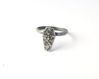 Sterling Silver Lace Coffin Ring Halloween Goth