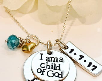 Child of God Necklace, I Am a Child of God, LDS Baptism Gift Idea, Baptism Necklace, I Belong baptism gift