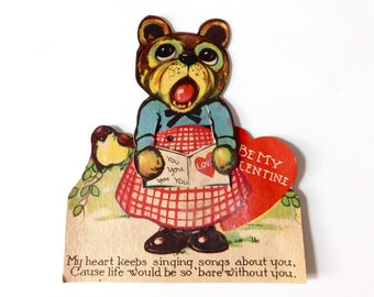 "Valentine, Mechanical Singing Teddy Bear with Little Bird - ""My heart keeps singing songs about you""  ""Be My Valentine"". circa 1920s"