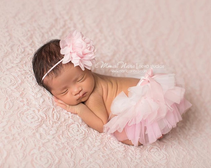 Featured listing image: Pink Tutu Bloomer and Headband, Pink Ombre Diaper Cover, Newborn Photo Prop, Baby Bloomers, Bloomer Set