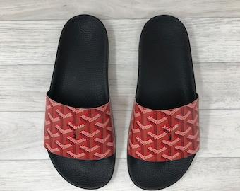 CUSTOM Goyard Red Slides (reworked) Goyardine Sliders | Only 3 Available | Flip Flop | Sandals | Beach Wear - Handmade