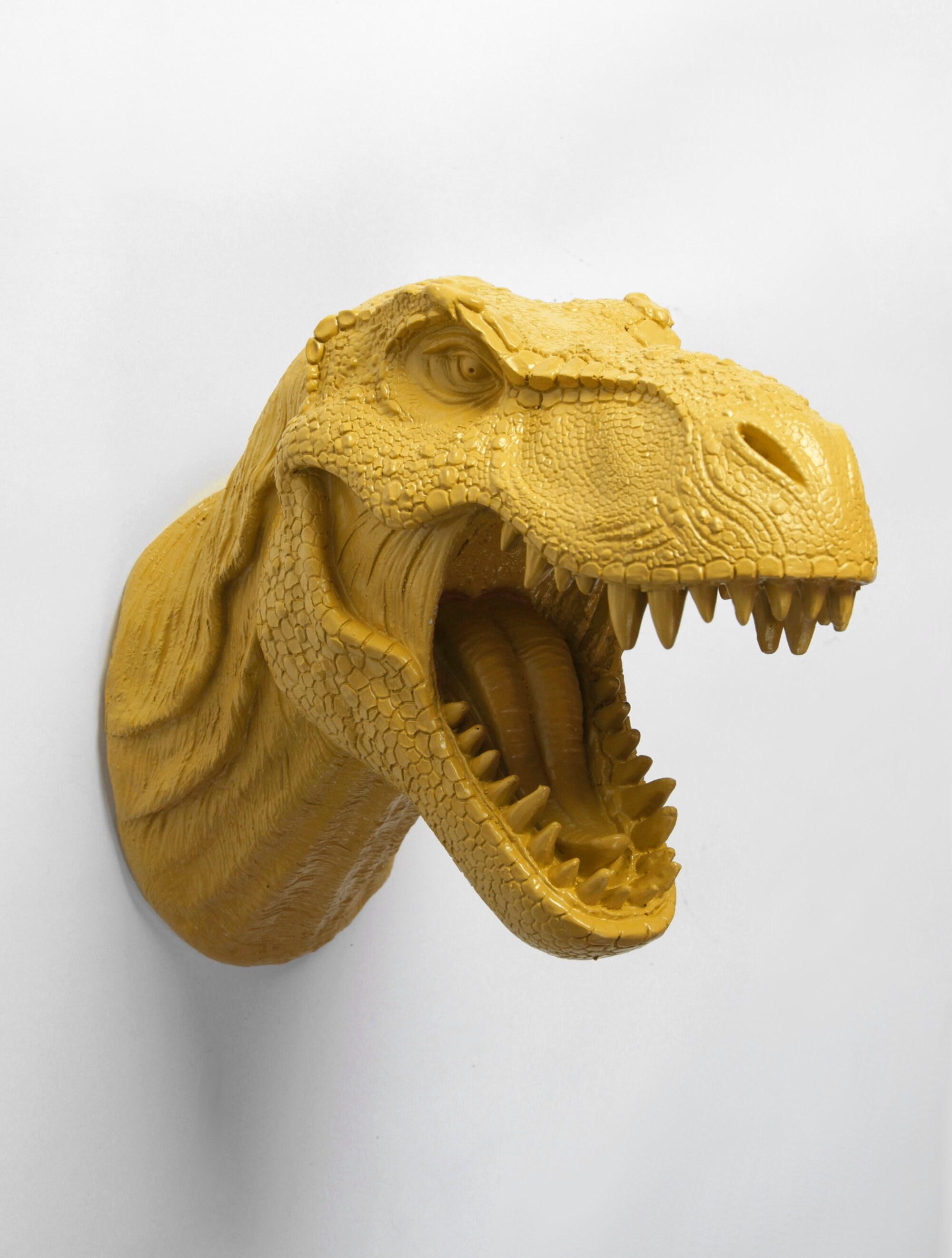 Dinosaur Head Wall Mount The Bronson in Mustard Resin