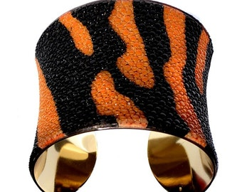 Tiger Stripe Stingray Gold Lined Cuff Bracelet - by UNEARTHED
