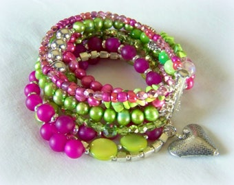 MULTI STRAND BRACELET ... think green and pink